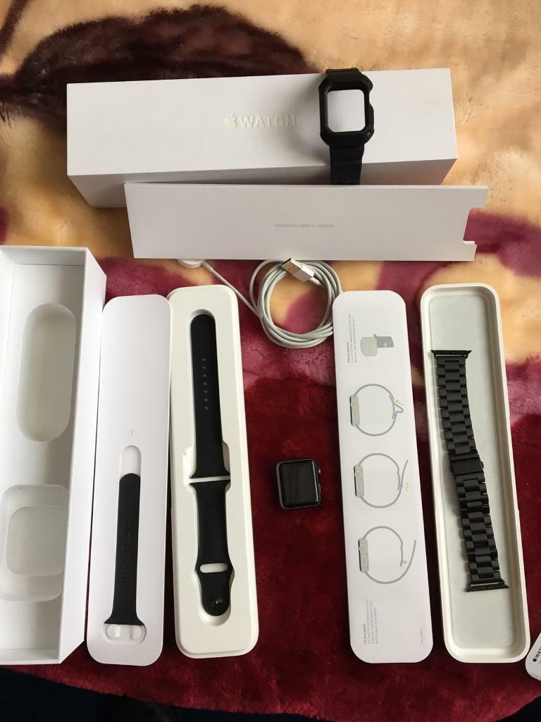 Apple Watch like new with extrasin Leicester, LeicestershireGumtree - Hi. Have for sale Apple Watch Sport 38mm. Like new condition. Still protecting film on the charger. Watch was always well looked after wearing only occasionally and thats selling reason. Apple Watch comes fully boxed with charger and wall socket ,...