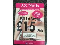 £15 only for full set acrylic in AZ Nails Leeds