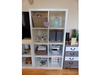 White Ikea Kallax storage 8 box unit