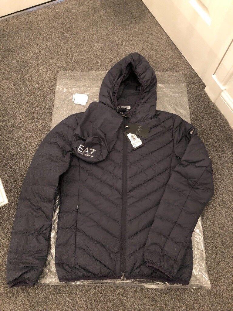 b33eafbf3 Emporio Armani EA7 Shield Grey Padded Down Jacket - Size Small ...