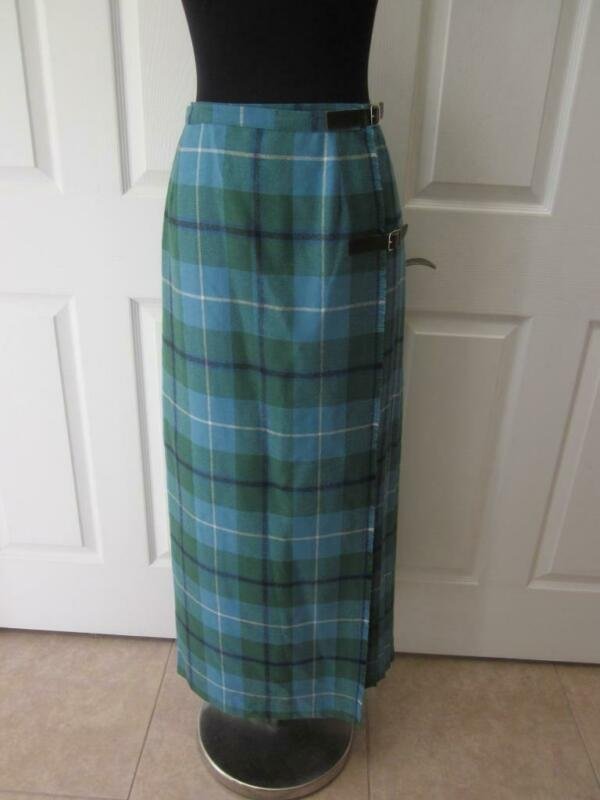 "VTG ANGUS YOUNG 100% Wool Blue & Green Plaid Kilt Style Skirt  32"" Waist"