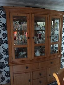 Beech wall cabinet n two corner unit