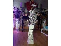 2 diamanté vases complete with flowers