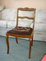 Antique Walnut Chair, Needle Point Seat