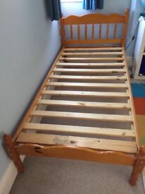 Single pine bed and good quality mattress.