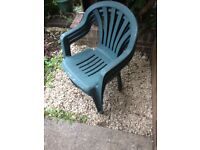 Stack of 3 Green Plastic Garden Chairs