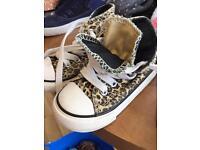 Converse leopard print trainers size 5