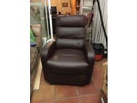 Recliner armchair, brown faux leather