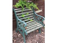 Ornate Garden Wrought Iron Bench and 2 Chairs