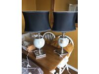Set of two crackled mirror lamps with dark shades large