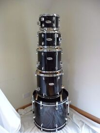 """Mapex VXB drum shell pack 10"""" + 12"""" + 14"""" + 16"""" toms + 22"""" Bass Drum in black stained lacquer"""