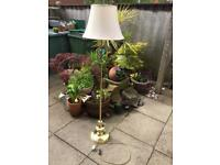 Standard Foor Lamp, carrier and shade, Brass finish