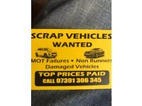 Scrap cars wanted cash payments and prompt collection