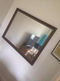 Brown vintage style large mirror.