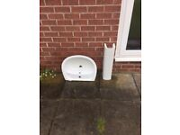 Sink and pedestal for sale, used but in excellent condition
