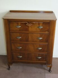 GOLDEN WALNUT VINTAGE ART DECO CHEST OF DRAWERS FREE DELIVERY EDINBURGH GLASGOW TAYSIDE FIFE AREAS