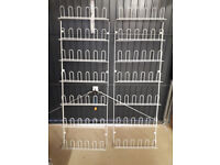 2 large shoe racks. Ideal for storing shoes in garage or porch.