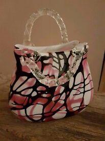 Laguna Glass - Large Black & Pink Handbag