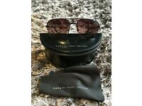 Authentic Marc by Marc Jacobs used sunglasses. Black aviator style. With box and cloth