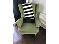 Ikea green strandmon armchair for sale