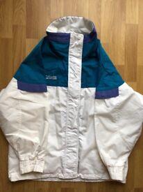 Ladies Columbia ski jacket, size M, white, teal and purple
