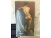 Painting - Oil on canvas (Male Nude) signed by Pappas 1948