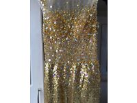 Beautiful Gold evening glitter dress for Prom, Engagement Or Wedding Events - size 8