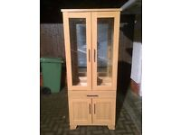Oak effect display cabinet/cupboard with drawers
