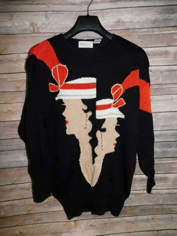 Vintage 80s Maurada S Black Sweater 2 Ladies Profile Red Bow Hat Beaded Tunic