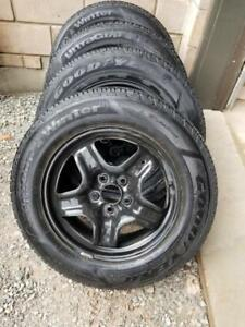 CHEVY EQUINOX GOODYEAR ULTRAGRIP  HIGH PERFORMANCE WINTER TIRES 225 / 65 / 17 ON GM OEM STEEL RIMS