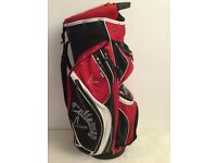 GOLF BAGS X 3 PLUS 14 VARIOUS GOLF CLUBS AND 2 JUNIOR GOLF CLUBS.