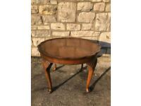 Pie crust burr carved wood walnut coffee lamp occasional side table queen Ann legs