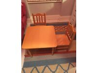 Wooden Aspace children's table and chairs