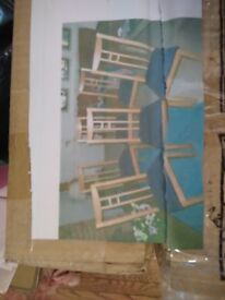 A PAIR OF MILAN DINING CHAIR BY HOMEWORKS BLUE LEATHER SEAT BASE/OAK