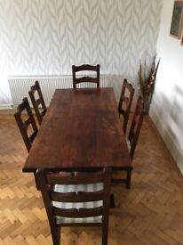 dark wood dining table and 6 x chairs