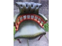 Chesterfield Captains Chair Antique Green Used