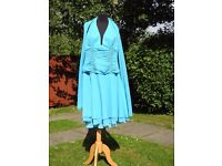 Jora Collection UK 8 Handmade Blue Occasion Formal Holiday Dress With Shawl