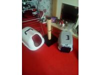 Cat post cat litter tray and cat carrier