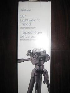 "Insignia Light weight 58"" Camera / Camcorder Tripod Stand. Nikon. Canon. Digital SLR. Sony. Movie. Pictures. Photo. NEW"
