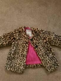Ladybird girls leopard print coat 12-18 months