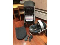 Mamas & Papas Sola Travel System RRP £410 Denim and Stripe Pushchair & Car Seat, adapters, footmuff.