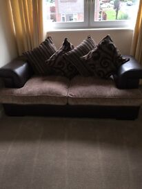 Brown leather and material sofa bed, great condition