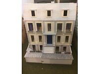 Large Wooden Dolls House - partially decorated - with furniture