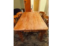 Solid Chunky Pine Dining Table and 4 Four Solid Pine Chairs - Wood Wooden Large Rustic Furniture