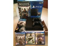 PS4 Bundle, SONY PlayStation 4 Console, 2 Genuine Controllers, 500GB, and 4 Games
