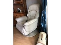 *reduced* Beige colour leather reclining chair. Excellent condition
