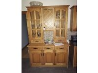 Large Solid Pine Farmhouse Style Kitchen Dresser With Glass Doors, Lights, Wine Rack