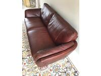 3 Seater Italian Leather Sofa and Matching Chair