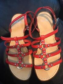 Clarks red sandals - size 5 - barely worn