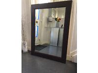 Large Leather Framed Beveled Glass Mirror